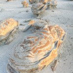 Sandstone, formation, cracked eggs, egg factory, Bisti, morning, New Mexico